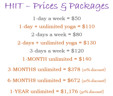 HIIT prices
